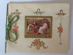 Verlobung, Männer, Frauen, Mode, Biedermeier  1900, Kleine Klappkarte  ♥ (64603)