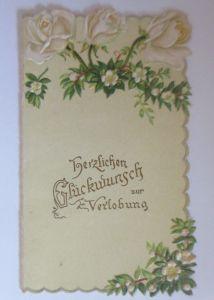 Verlobung, Rosen, Jugendstil,   1900, Kleine Klappkarte  ♥ (64600)