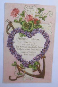 Religion, Glaube-Hoffnung-Liebe, Herz, Anker, Kreuz, 1906, Prägekarte  ♥ (66803)