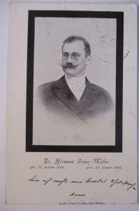 Österreich, Medizin, Dr. Hermann Franz Müller, Pest, Trauerkarte 1898 (20977)