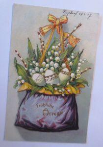 Ostern, Tasche, Ostereier, Maiglöckchen, 1907, Prägekarte  ♥ (66801)