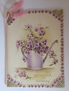 Verlobung, Vase, Blumen, 1900, Klappkarte, Glitzer  ♥ (64595)
