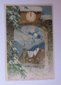 4. Glückwunschkärtchen Neujahr 12 cm x 6 cm, Jahr 1900  ♥  (54468)