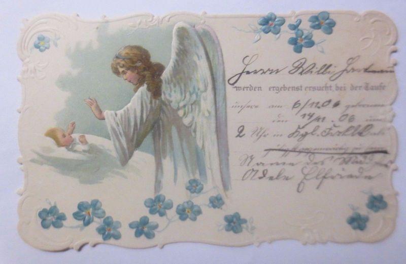 Taufe, Engel, Schutzengel,   1906, Prägekarte ♥  (62342)