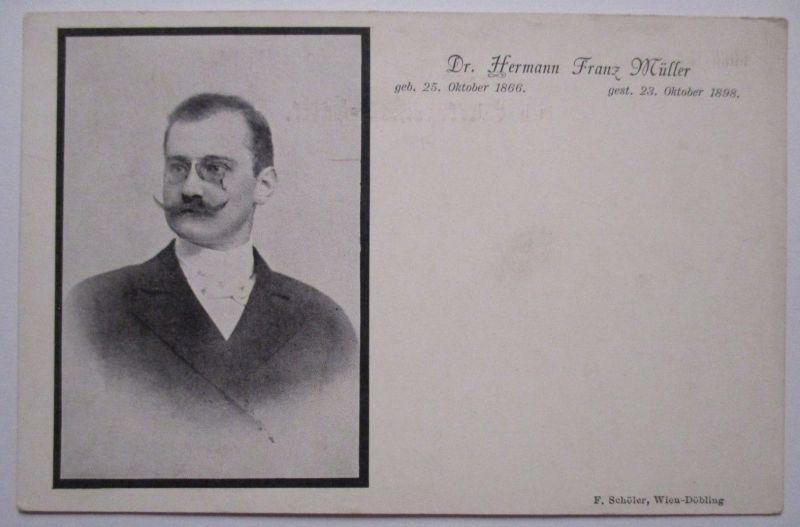 Österreich, Medizin, Dr. Hermann Franz Müller, Pest, Trauerkarte 1898 (1083)