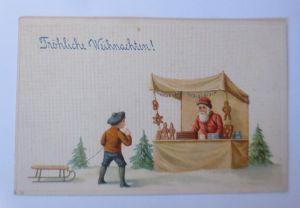 Weihnachten, Weihnachtsmann, Weihnachtsmarkt, Lebkuchen, Prägekarte♥ (66011)