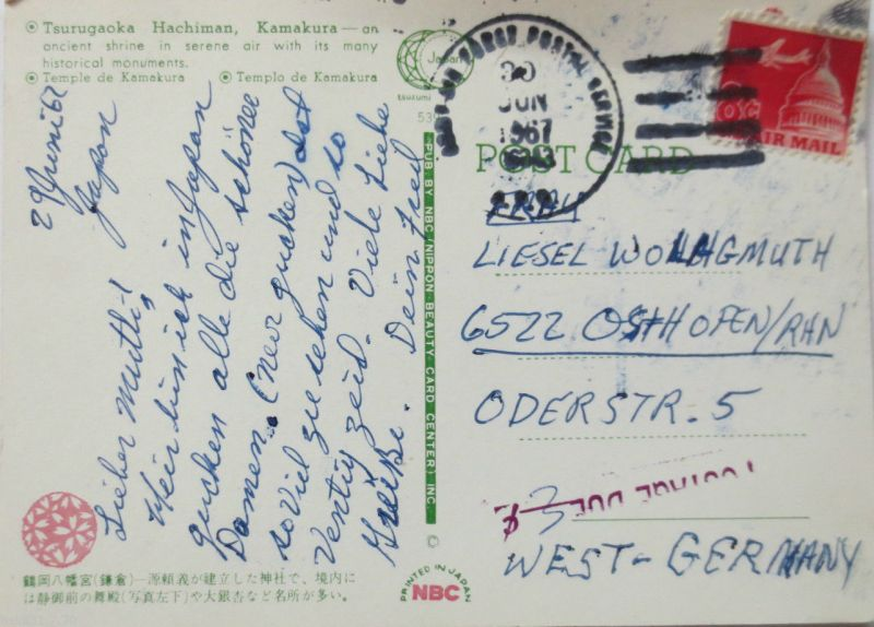 Japan, US Forces - Mail von 1967 nach Osthofen (10778)