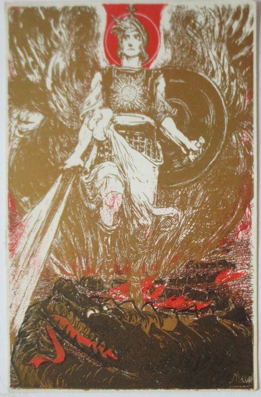 Bayern, Drache, seltene Künstlerkarte für die Kriegs-Wohlfahrt (19583)