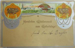 Ostern, Frauen, Mode, Korb, Eier, Biedermeier,    1908  ♥  (6650)