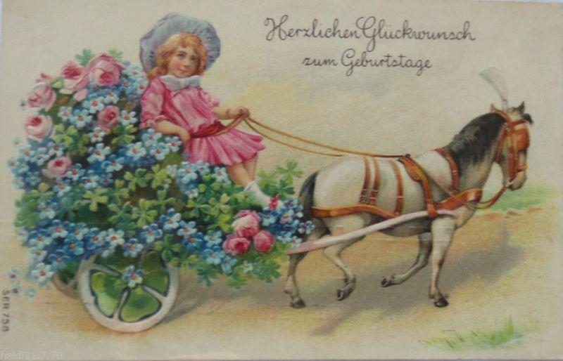Geburtstag Kinder Kutsche Pferd Blumen 1909 Pragekarte