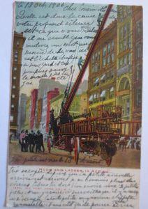 Feuer, Feuerwehr, Feuerwehrwagen, Drehleiter,1905 aus NY , USA (19498)