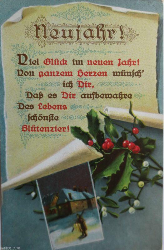 Motiv Neujahr Sprüche Jahr 1915 Sehr Schöne Karte 19363