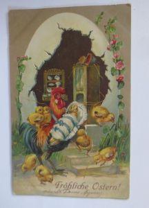 Ostern, Osterei, Küche, Hahn, Küken, Baby,    1911, Prägekarte  ♥ (65792)