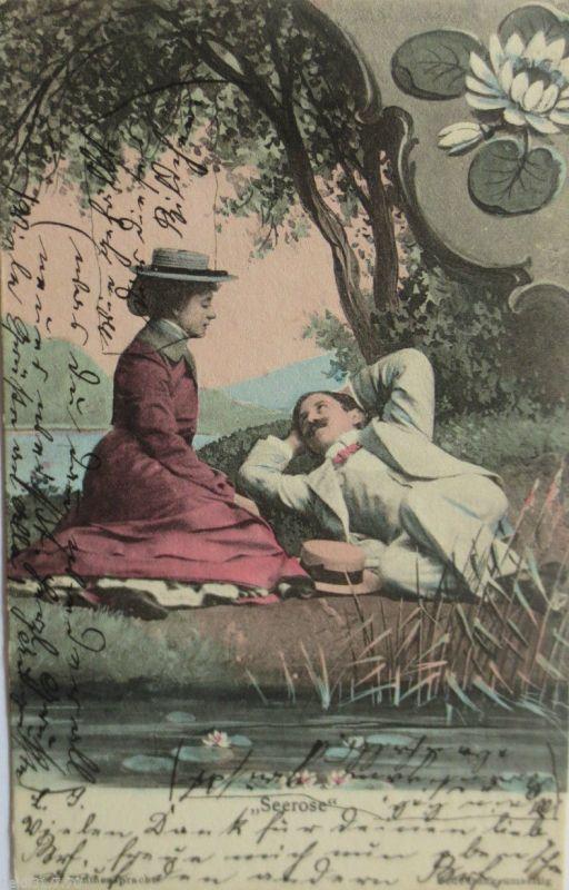 Männer, Frauen, Seerose, 1905,Serie Blumensprache, K.V.i.B.12. Dess. 7 ♥ (3929)