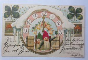 Neujahr, Zwerge, Uhr, Bowle, Pilze, Kleeblatt,  1909, Prägekarte ♥ (65487)