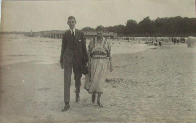 Meer, Strand, Baden, Mann und Frau, Fotokarte (50874)