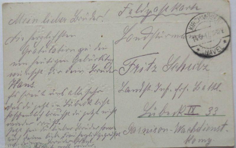 D.Reich, Kirchmöser (Brandenburg), auf Glückwunschkarte 1917 (3267)