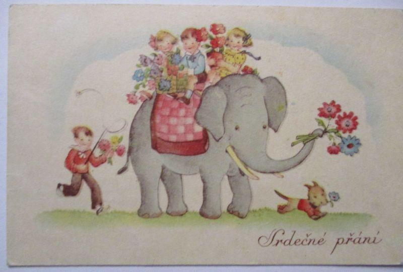 Tiere, Kinder mit Elefant, ca. 1930 (48176)