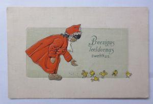 Ostern, Kinder, Mode, Küken, Futter,      1911, Prägekarte ♥ (63703)