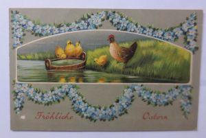 Ostern, Küken, Huhn, See,     1900, Prägekarte ♥ (63702)