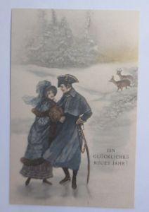 Neujahr, Frauen, Männer, Mode, Schwert, Rehe, Winter, 1900,Theo Stroefer♥(66069)