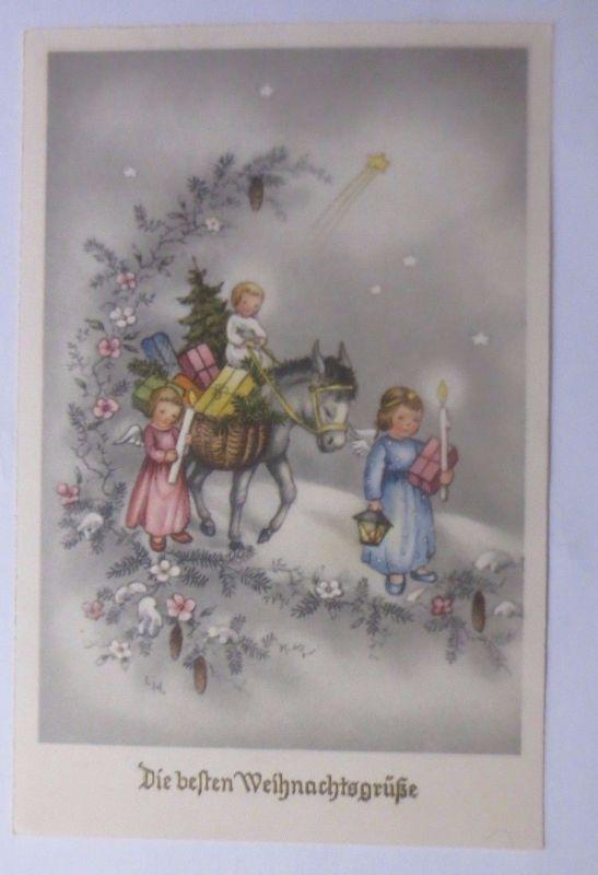 Weihnachtsgrüße Christkind.Weihnachten Engel Kerze Christkind Esel Stern 1954 Sig Lh 61300