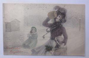 Weihnachten, Frauen, Kinder, Mode, Muff, Schnee,  1910, Munk Vienne ♥  (62668)