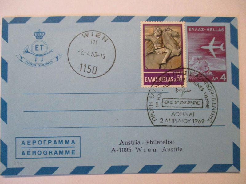 Flugpost, Luftpost, Aerogramm Griechenland 1969 (42885)