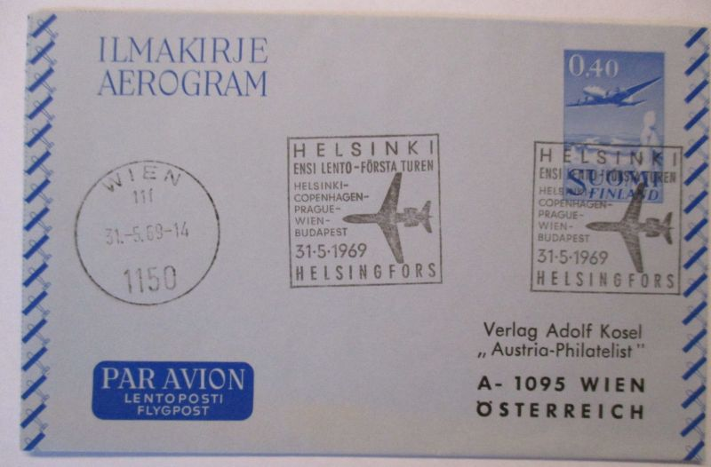 Flugpost, Luftpost, Aerogramm Finnland 1969 (38382)
