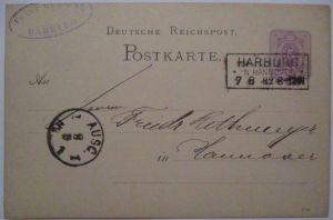 D.Reich, Ganzsache 1882 Kastenstempel Harburg in Hannover (37386)