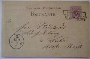 D.Reich, Ganzsache 1877 Kastenstempel Neustadt (23925)