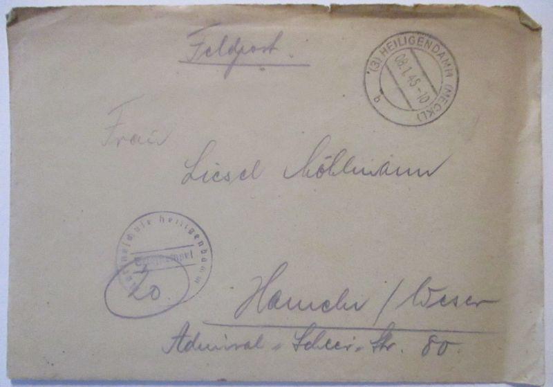 Heiligendamm 1945, Marineschule, Feldpost mit Briefinhalt (64543)