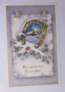 Neujahr, Winter, Haus, Hufeisen, Marienkäfer,     1958 ♥  (62415)