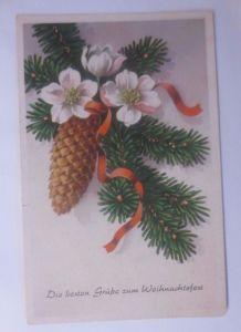 Weihnachten,  Tannenzapfen, Tannenzweig,    1952 ♥  (62414)