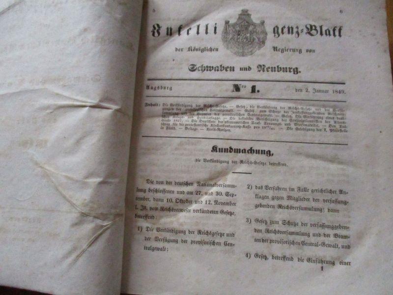 Intelligenz Blatt der Kgl. Regierung Schwaben und Neuburg 1849, 1304 Seiten kpl.