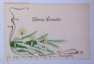 Weihnachten, Jugendstil, Tannenzweige, Kerzen,   1903, Prägekarte ♥ (67180)