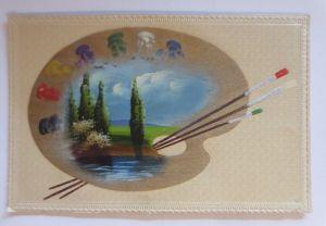 Handgemalt, Palette, Farben, Pinsel, Landschaft,   1900, Prägekarte  ♥ (48810)