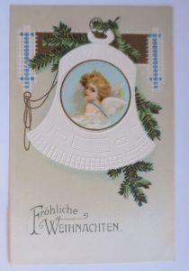 Weihnachten, Glocke, Engel, Tannenzweig,   1913, Prägekarte  ♥ (67174)
