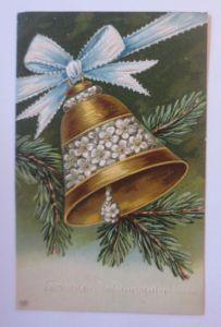 Weihnachten, Tannenzweig, Glocke,  1907, Prägekarte ♥ (67172)