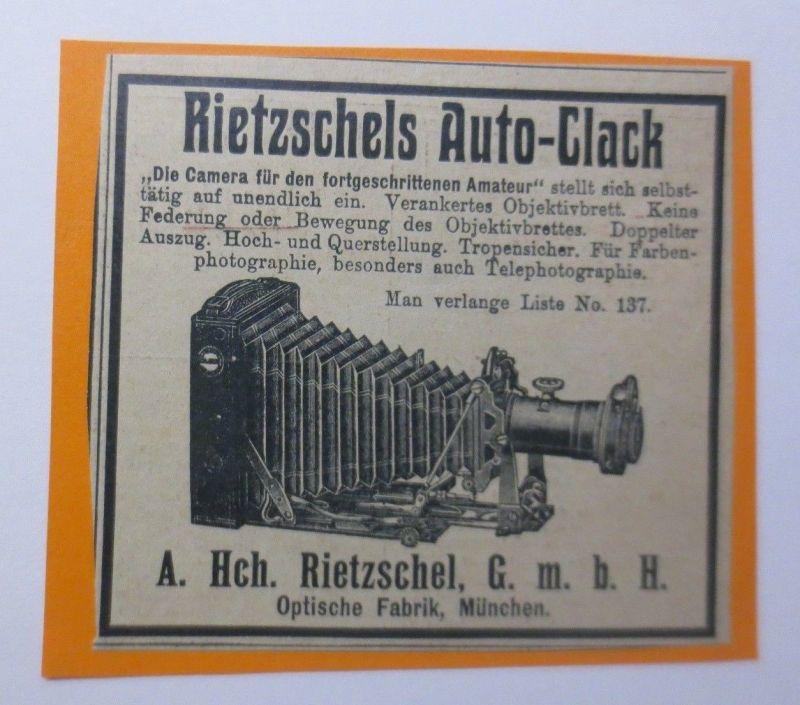 Werbung, Reklame, Kamera, 1914, Rietzschels Auto-Clack, München ♥ (64499)