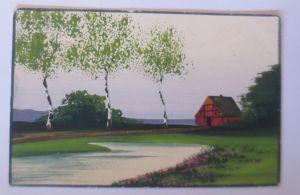 Handgemalt, Landschaft, Scheune, Fluss,   1907  ♥ (48808)