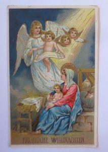 Weihnachten, Engel, Singen, Violine, Disteln, 1909, Prägekarte ♥  (67162)