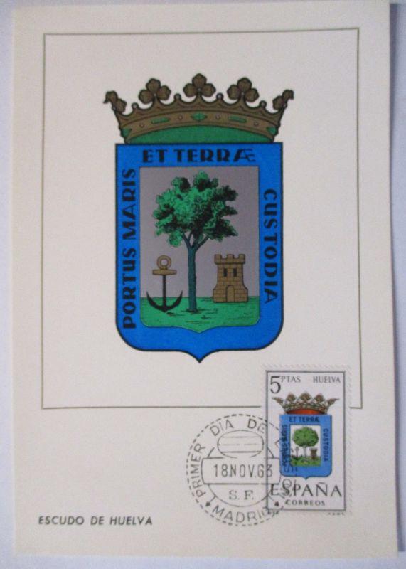 Spanien Maximumkarte  von 1963 Wappen Huelva (44615)