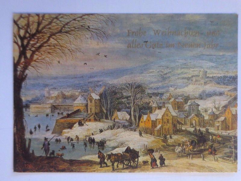Weihnachten, Dorf, Kutsche, See, Winter-Szene\