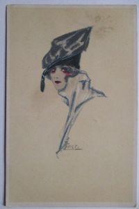Künstlerkarte Erna Maison-Kurt, Frau mit Hut, Art Deco (45586)