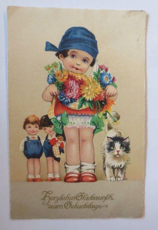 Geburtstag, Fritz Baumgarten, Kinder, Mode, Blumen, Katze, Puppe, M&B ♥ (5375)