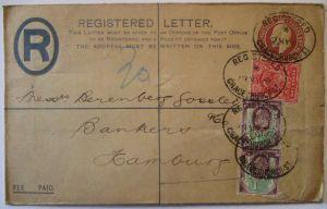 Großbritannien, King Eduard R-Ganzsache 1905 Perfins (30170)