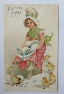 Ostern, Kinder, Mode, Küken, Eier, Blumen,  1907, Prägekarte  ♥ (65521)