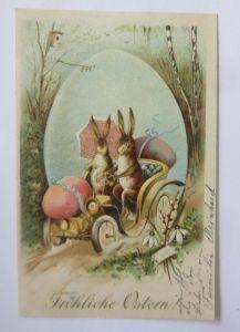 Ostern, Hase, Auto, Osterei,  1904, Prägekarte  ♥ (65518)