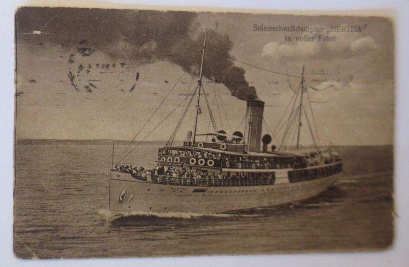 Schiffe, Salonschnelldampfer HERTHA in voller Fahrt auf hoher See,1920 ♥ (67276)
